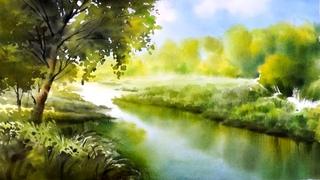 Silent river  Watercolor landscape painting