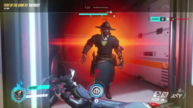 Mcree tried to flank and High noon us Unlucky for him I heard his footsteps and was ready for it
