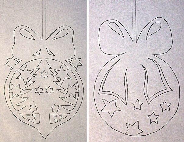 Трафареты для новогоднего декора окон Материалы: Бумага , Принтер , Ножницы , Мыло или скотч Ход работы: Распечатываем рисунки. Аккуратно с энтузиазмом и терпением вырезаем фигурки. С помощью