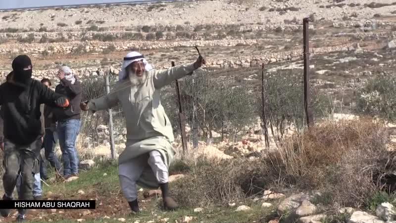Ce vieillard palestinien se joint aux jeunes pour lancer des pierres sur les soldats israéliens à Deir Jarir