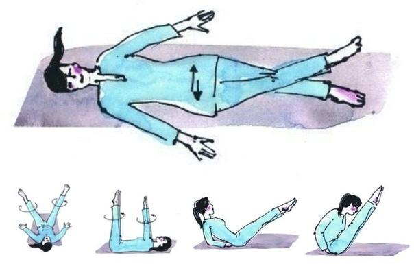 УПРАЖНЕНИЯ ДЛЯ ЭНДОКРИННОЙ СИСТЕМЫ 1. Лягте на спину и перекрестите ноги в области лодыжек. Начните двигать бедрами из стороны в сторону, при этом голова, верхняя часть тела и ступни остаются на