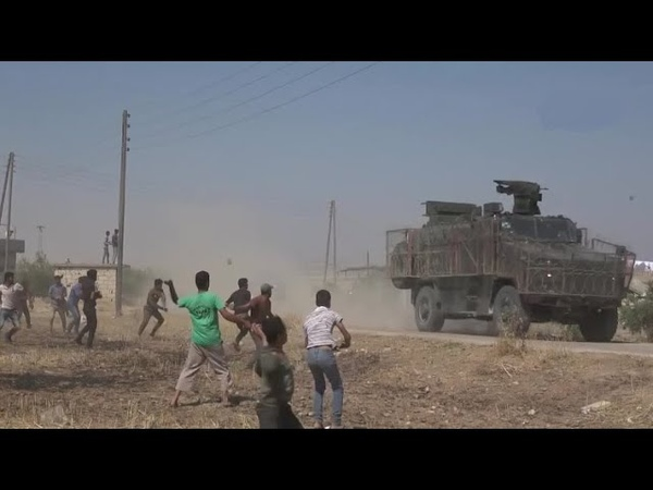 Locals throwing stones at the Russian - Turkish joint patrol | July 9th, 2020 | Northeastern Syria