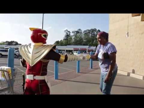 Power Ranger Gives Away Toilet Paper And Money