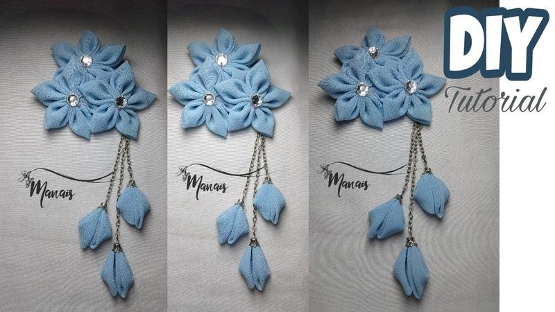 DIY    Tutorial Bros Bunga Cantik Dari Kain Perca / Cara Membuat Bros Hijab Dari Kain Perca Sifon