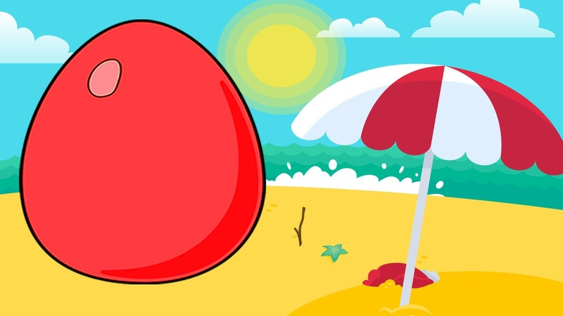 Animated Surprise Eggs Learn English or ESL Lesson for Toddlers The Beach