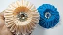 169) DIY    How to make Kanzashi Flower    Cara membuat bros bunga UFO    Grosgrain ribbon