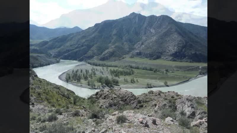 Иня мост и стелы Слияние Чуи и Катуни