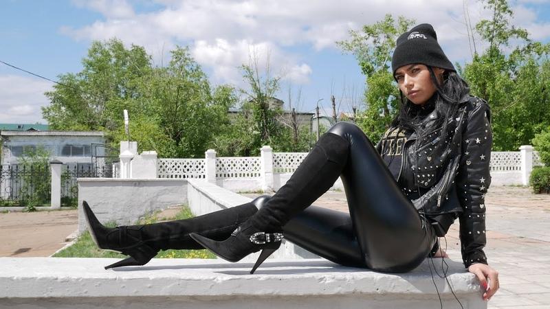 Kristina's Gianmarco Lorenzi high heels Swarovski crystals ankle strap black suede boots Size EU 39