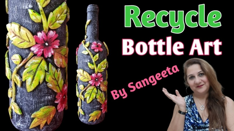 DIY Recycled Craft Bottle Art Mola Art Best Out of Waste Reuse Idea Room Decor Ideas