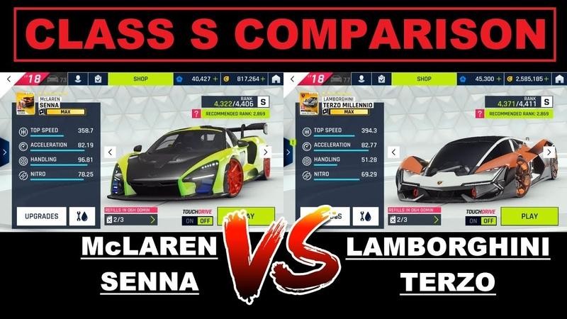 Asphalt 9 MAX⭐️McLaren Senna vs Lambo Terzo Class S Comparison 60FPS FHD