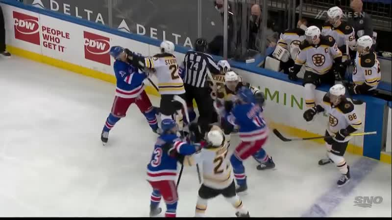 Brad Marchand Picks A Fight And Tempers Flare Between Bruins Rangers