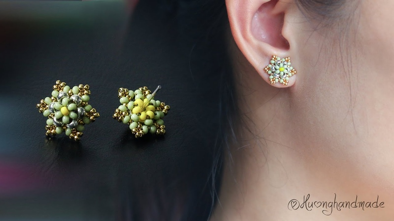 Mini six petal flower stud earrings How to make beaded earring