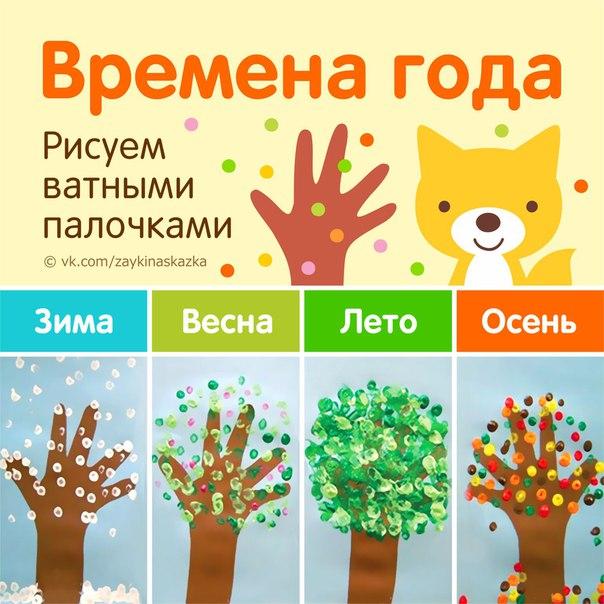 ВРЕМЕНА ГОДА Рисуем ватными палочкамиОбведите ручку ребёнка и раскрасьте картинку в коричневый цвет. Получится ствол дерева с ветвями. Затем пусть малыш раскрасит это дерево соответственно