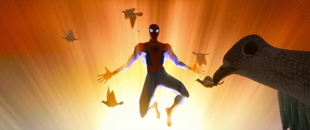 Создатели «Через вселенные» немного заспойлерили дальнейший сюжет мультфильма, когда в самом начале Питер говорит: «Человек-паук лишь один. И он перед вами». В этот момент в кадре пролетают семь птиц, что знаменует семь Пауков: идеального, потрепанного жи