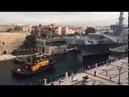 Nave Cavour attraversa il Canale Navigabile di Taranto