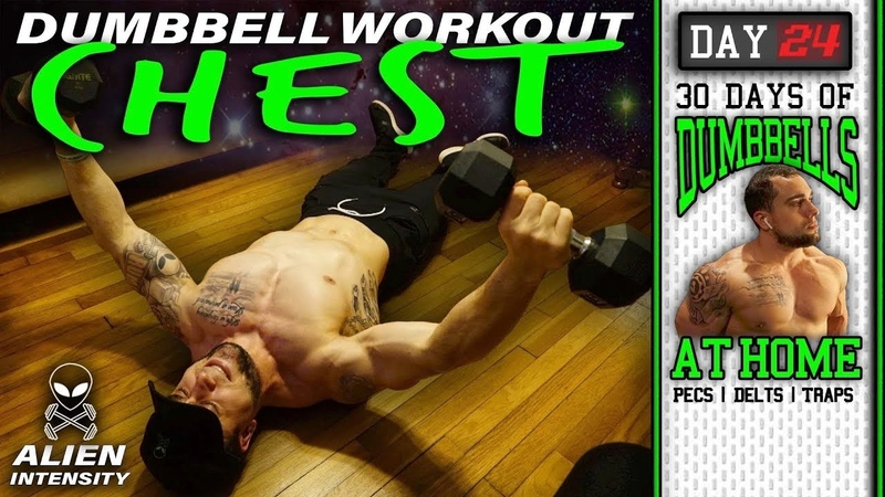 Chest Home Workout With Dumbbells 30 Days to Build Pecs Delts Trap Muscles Dumbbells Only