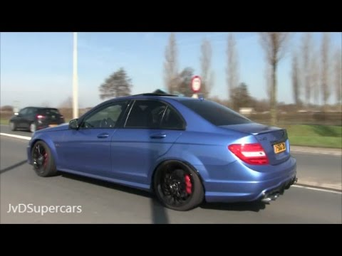 522HP Mercedes C63 AMG W204 w Decatted Exhaust Loud Sounds