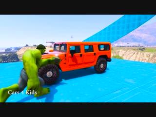 Мультики про цветные машинки и грузовики Человек Паук и Супергерои Учим Цвета