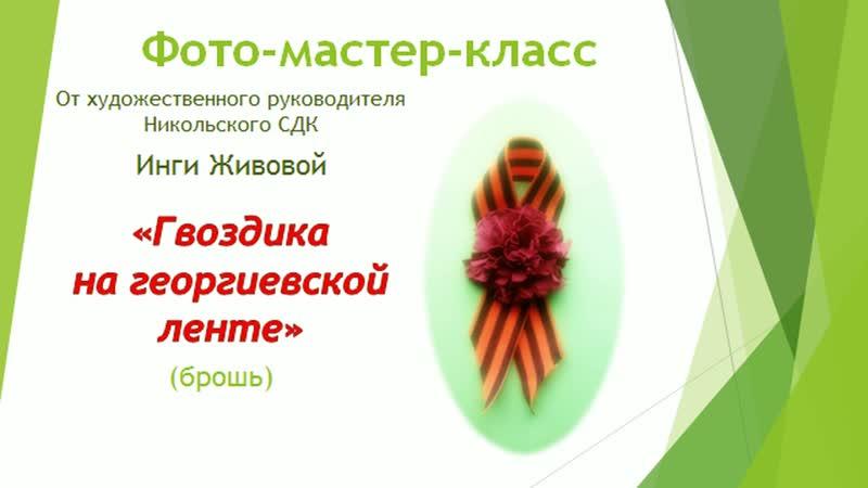 Мастер класс Гвоздика на георгиевской ленте Инга Живова БиблиоНочь2020 в Кондрово онлайн