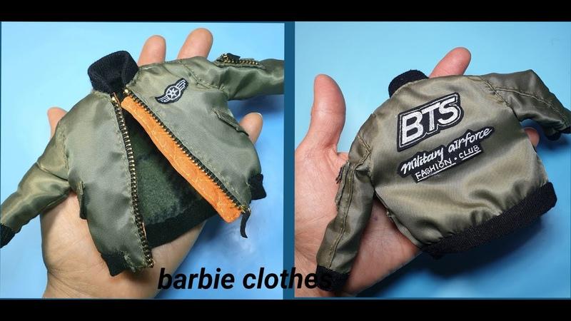 바비인형옷만들기(BTS방탄바비 항공점퍼)-barbie cothes, barbiedoll, miniature