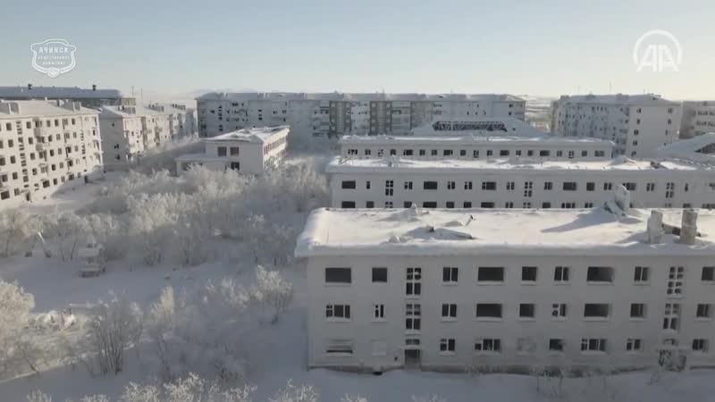 Заледеневший поселок призрак Цементнозаводский