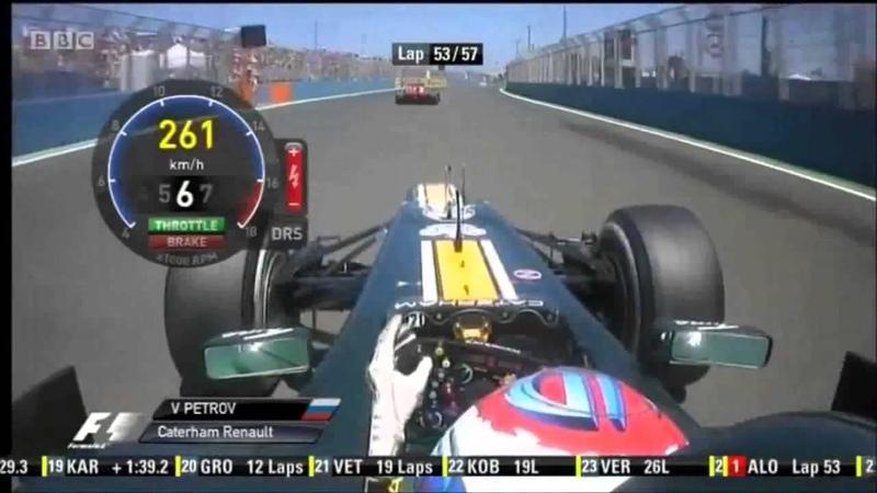 F1 2012 European GP Petrov Onboard Overtakes Massa HD Engine Sounds