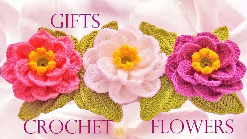 Como tejer flores fácil y rápido en una tira en pocos minutos Make knitting in minutes