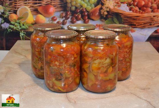 Салат пятерочка или баклажаны по-молдавски Ингредиенты: баклажаны - 2,5 кг.лук - 700 гр.морковь - 700 гр.перец сладкий - 2 кг.помидоры - 2 кг.петрушка - 2 шт. (корень и зелень)чеснок - 1