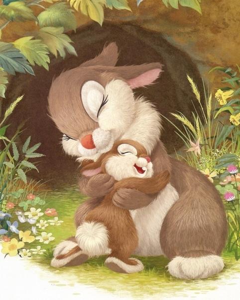 Маленький зайчонок улыбнулся маме: Я тебя люблю вот так! - и развел руками. А вот как я тебя люблю! - мать ему сказала, Развела руками и тоже показала. - Это очень много, - прошептал зайчишка, -
