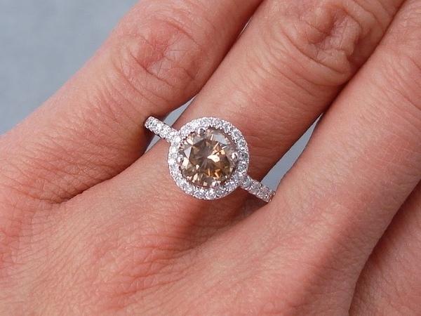 1.43 ctw Round Brilliant Cut Diamond Engagement Ring Natural Chocolate - BigDiamondsUSA