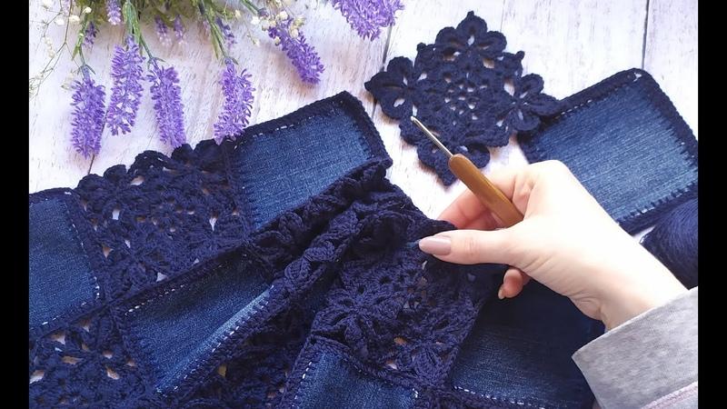 Кардиган Jeans. Крючок ткань. Часть 4. Соединение мотивов.