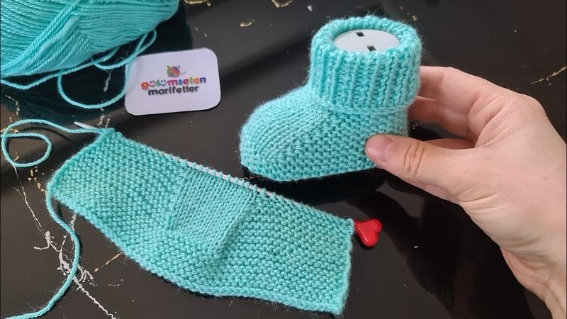 İlk Defa Örecekler İçin Harika Bir Seçim (İki Şiş ile Bebek Patik Modelleri) Knitting Baby Socks