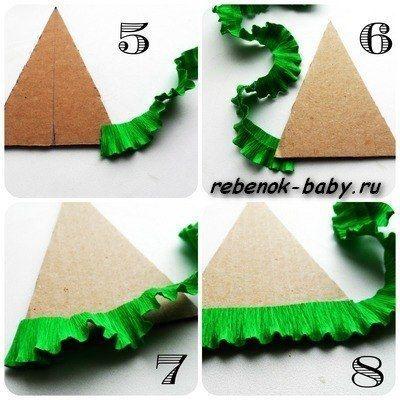 ЁЛОЧКА ИЗ ГОФРИРОВАННОЙ БУМАГИ Понадобится:- плотный картон- гофрированная бумага зеленого и белого цвета.Я использовала флористическую гофрированную бумагу- она плотнее и держит хорошо форму,