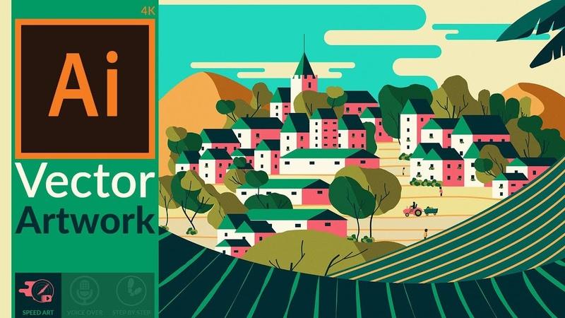Making a flat scenery artwork in Adobe Illustrator CC Travel Poster Style Speed Art
