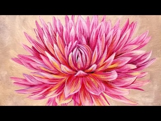 Dahlia Acrylic Painting - Large Flower Series LIVE Instruction