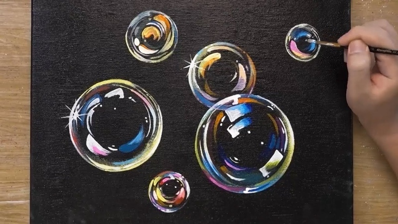 How to Paint Bubbles OHP Painting Technique Easy Acrylic Painting