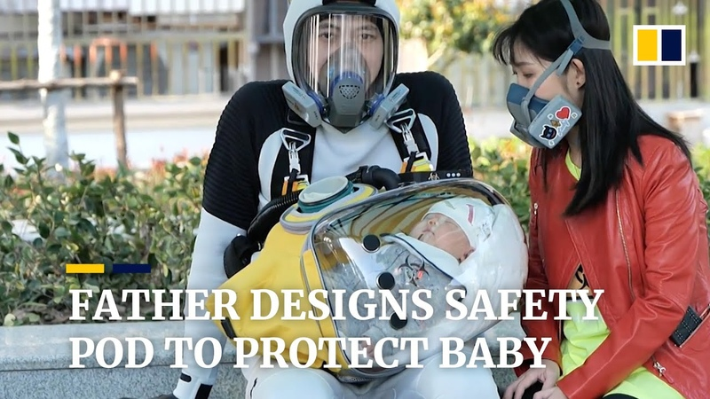 Creative father designs safety pod to protect baby from coronavirus in China