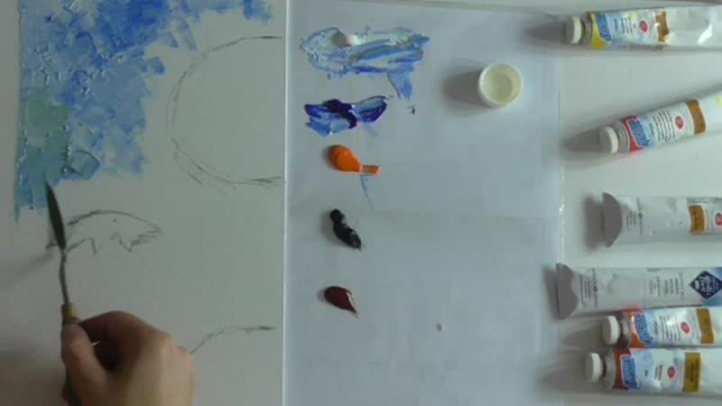 Видеоурок по живописи маслом и мастихином Подсолнечная разминка