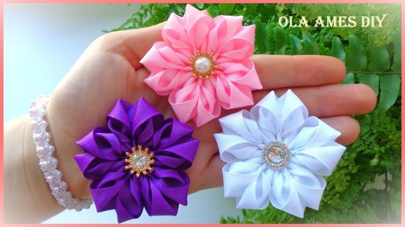 😍Ух ты Такие Красивые ЦВЕТЫ из ЛЕНТ за 5 МИНУТ ❤️️DIY Ribbon Flowers Flores de Fita Ola ames DIY