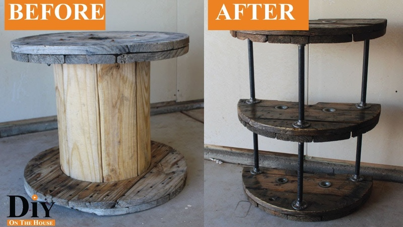 Cable Spool Reel End Table and Nightstand Beautiful Rustic Homemade Furniture