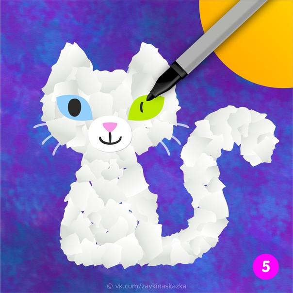 КОШКА ИЗ КУСОЧКОВ БУМАГИ Простая обрывная аппликация для малышейСолнышко ласковоСмотрит в окошко,Лучиком трогаетНосик у кошки.Кошка довольноМурлычет в ответ,Хвостиком солнышкуМашет: