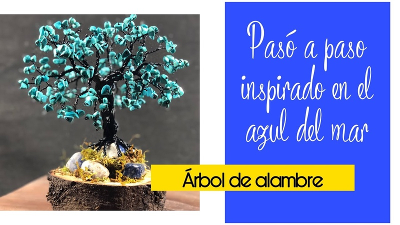 🌳🌳 ARBOL BONSAI DE ALAMBRE CON CUENCAS AZUL TURQUESA manualidades DIY