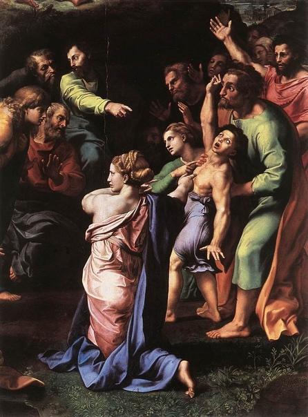 «Преображение», Рафаэль Санти 1518-1520гг. Дерево, масло. Размер: 405x278 см. Ватиканская пинакотека, Незаконченная алтарная картина великого мастера эпохи Ренессанса. Закончить работу Рафаэлю
