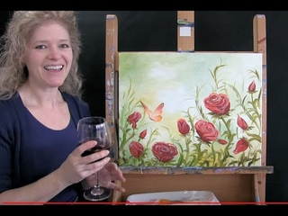 Red Roses and Butterfly | Acrylic Painting Tutorial | Step by Step | Paint and Sip at Home