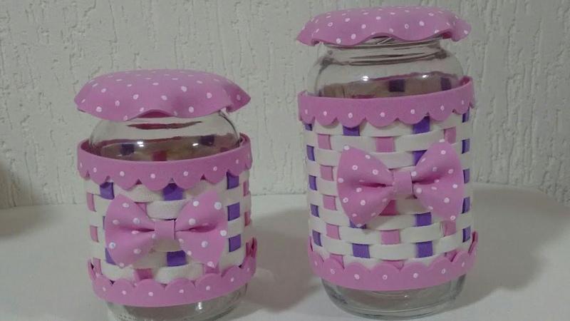 Como decorar pote de vidro com Eva
