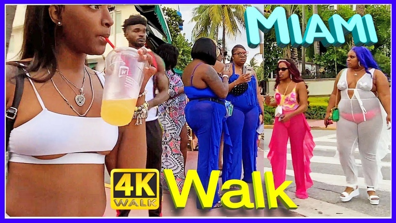 4K Walk MIAMI BEACH South Beach SLOW TV travel vlogger USA