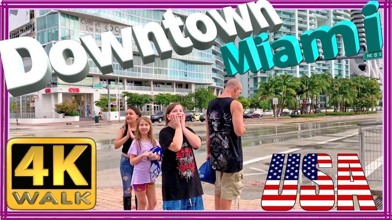 4K WALK Downtown Miami walking tour Florida 4k documentary USA 2019