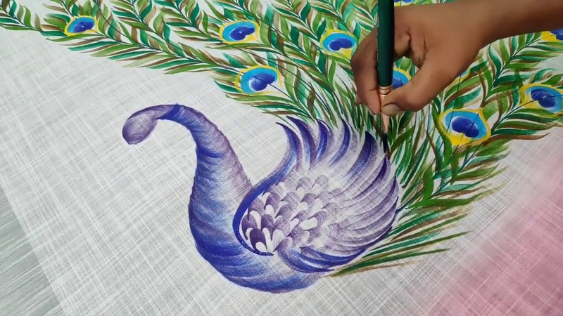 Freehand fabric painting peacock designs on sarees Fabric peacock painting on Cloth by Balashankar